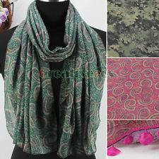 Women's Vintage Pattern Floral Print Tassel Polyester Long Scarf Shawl Wrap New