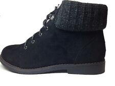 WOMEN LADIES BLACK KNITTED COLLAR LACE UP SUEDE ANKLE CHELSEA BIKER SHOES BOOT