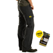 NEW Draggin Jeans Kevlar Lined Black Mens Motorcycle Cargo Pants + FREE SOCKS