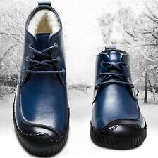 Mens fleece fur lining casual lace up winter warm snow antiskid ankle boots