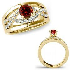 0.75 Carat Red Diamond Halo Engagement Fancy Infinity Ring Band 14K Yellow Gold
