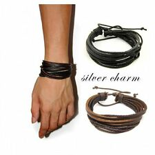 Surfer Women/Men Tribal Cuff Bracelet Multilayer Leather Wrap