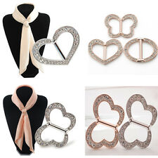 New Silver Gold Crystal Heart Butterfly Oval Scarf Clip Buckle Pin Woman Jewelry