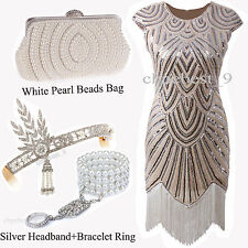 Great Gatsby 1920's Flapper Dress Sequin Beads Fringe Cocktail Custume Plus Size