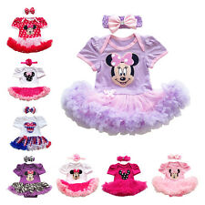 Baby Girls Minnie Mouse Romper Tutu Dress+Headband Birthday Party Clothes Outfit
