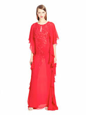 $4490 New Oscar de la Renta RED Embroidered SILK CREPE Floral Gown CAFTAN S