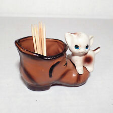 VINTAGE BOOT WITH CAT KITTY TOOTHPICK MATCHES HOLDER ENSESCO PORCELAIN