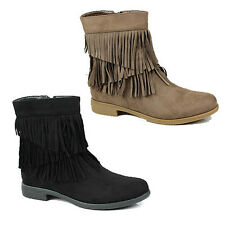 WOMENS LADIES LOW BLOCK HEEL CHELSEA STYLE TASSLE ANKLE BOOTS SHOES SIZE 3-8