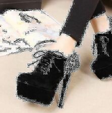 Women New Trendy Vogue Black Leopard Back High Heels Suede Platforms Shoes Chic
