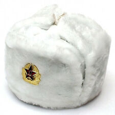 Authentic Russian White Ushanka Hat w/ Soviet Red Army Badge