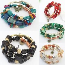 Party Crystal Agate Bracelets Multilayer Beads Chain Gold Filled Resin Bangles