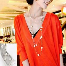 Long Women Pendant Pearl Necklace Sweater Chain Jewelry