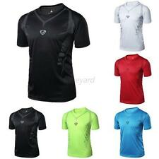 Mens Solid Quick Dry Wicking T-shirts Sports Fitness Shirt Tee Tops T-Shirt