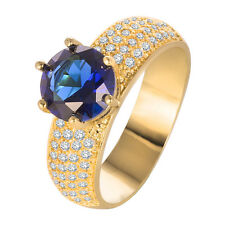 1CT Charm Round Cut Blue Sapphire 925 Silver 18K Yellow Gold Filled Ring