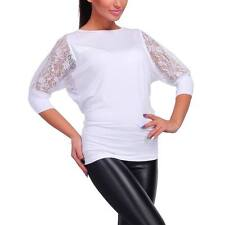 Fashion Ladies Casual White Lace Long Sleeve T-Shirt Women Crew Neck Tops Blouse
