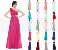 One Shoulder Chiffon Evening Formal Party Ball Gown Prom Bridesmaid Dress 6-18