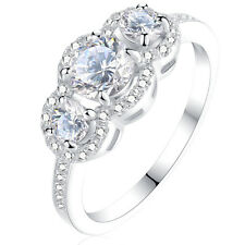 Round Cut White CZ 925 Sterling Silver Engagement Wedding Ring Women's Size 5-10