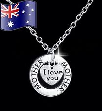 MOTHER I LOVE YOU Heart Pendant 925 Sterling Silver Chain Necklace Mum Gift