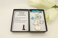 Chief Bridesmaid Gift.Wedding Favour.Thank You. Aqua Heart Sixpence Charm Gift