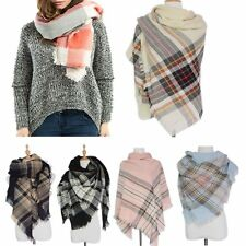 Cozy Cashmere Checked Plaid Blanket Wrap Shawl Pashmina Oversized Tartan Scarf