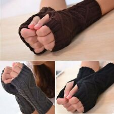 New Women Arm Warmer Fingerless Knitted Long Warm Gloves Winter Mittens 1 Pair