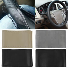 @DIY Genuine Leather Car Auto Steering Wheel Cover With Needles And Thread#W