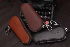 Men Genuine Cow Leather Bag Car Key Wallets  Holders  Zipper Key Case Pouch