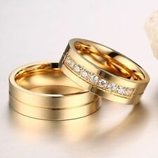 CZ Couples 18K Gold Plated Cubic Zirconia Stainless Steel Wedding Band Ring