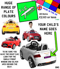 Personalised Number Plate for KID MOTORZ 6V Audi TT RS kids ride-on toy car REAR
