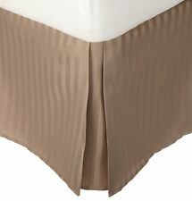 Luxury 1 Qty Bed Skirt 1000 TC Egyptian Cotton Taupe Stripe Drop 15 Inch
