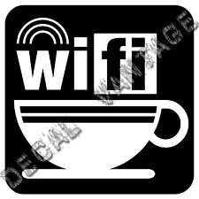 Wifi Coffee Cup Vinyl Sticker Decal House Shop Free - Choose Size & Color