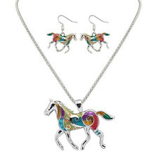Gift Colorful Earrings Fashion A Set Earring Enamel Horse Jewelry Necklace