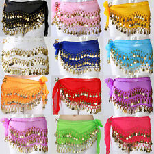128# New Belly Dance Hip Skirt Scarf Wrap Belt Golden/Silver Coins Many Colors