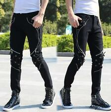 Stylish Men's gothic punk zipper decor motorcycle trousers skinny Casual Pants