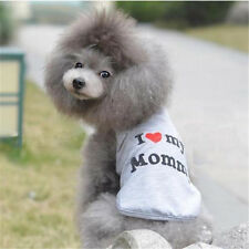 1x Hot Pet Dog Clothes Puppy Vest Coat Gray I Love My Daddy/Mommy T-shirt Size S
