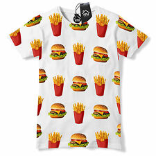 Burger & Fries ALL OVER Funny Tshirt Food Gym Geek Hipster Fast Tee Top 531