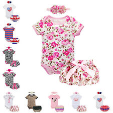 3pcs Baby Girl Romper Jumpsuit Headband Ruffle Pant Outfit Bloomer Clothes 0-18M