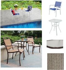 Outdoor Bistro Set 3-Piece 2-Chairs&Table With Glass Top Modern Dining Furniture