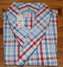 "NWT Mens Brooks Brothers Red White Blue Plaid  Pajama Robe Lounge 48"" Long *N7"