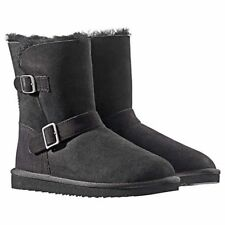 New Kirkland Signature Australian Sheepskin Shearling Black Buckle Boots PK SIZE