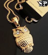 """HIP HOP STAINLESS STEEL CZ EYES OWL PENDANT W/ 24"""" 4mm BOX LINK CHAIN NECKLACE"""