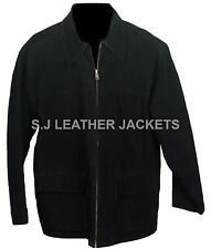 Men's Fashion High Quality Suede Leather Black Jacket All Sizes Xs-5xl