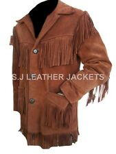 Men's Western Cowboy High Quality Suede Leather Brown Coat All Sizes Xs-5xl