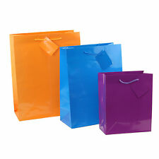 12pc Bright Neon Birthday Party Bags Colorful Paper Bags Small, Medium, Large