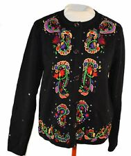 Jack B Quick black button up sweater brightly embellished MEDIUM  LAST CHANCE