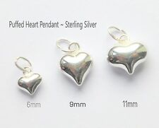 Sterling silver Pendant Puffed heart 6mm 9mm or 11mm findings charms & open bail