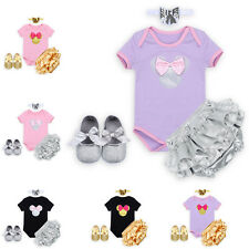 Baby Girls Cute Mini Mouse Romper Headband Shoes Pants Outfits Ruffle Bloomers