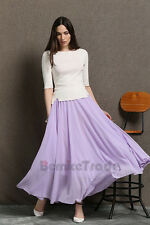 2017 Lilac Women Skirts Chiffon A Line Long Prom CelebrityParty Maxi Skirt 2-16