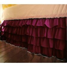 """Multi Ruffle 1Qty Bed Skirt Drop 8-20"""" Egyptian Cotton 1000TC Wine Solid"""