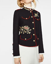 Zara AW16 Military Jacket With Bird Floral Embroidery Gold Buttons Blazer XS NWT